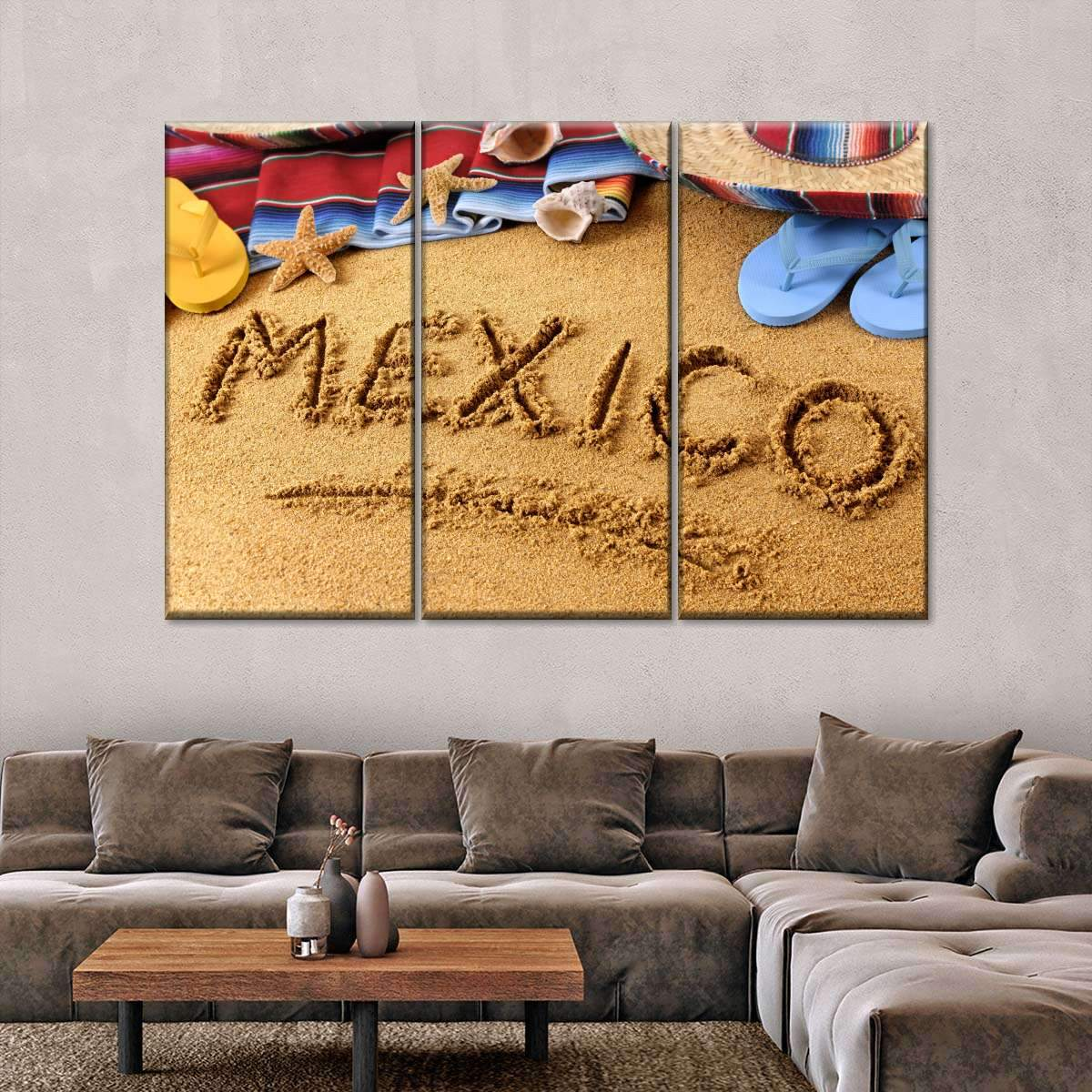 Beach In Mexico Multi Panel Canvas Wall Art
