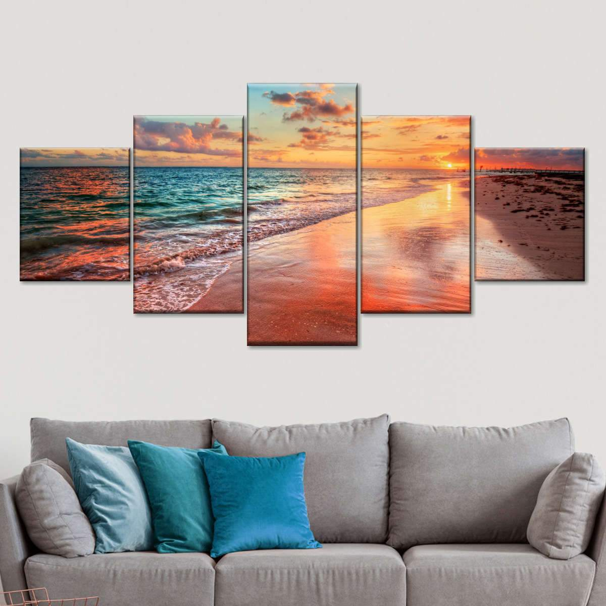 Colorful Sunset Seashore Multi Panel Canvas Wall Art