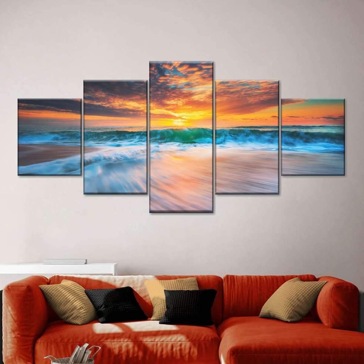 Cloudscape Over Sea Multi Panel Canvas Wall Art