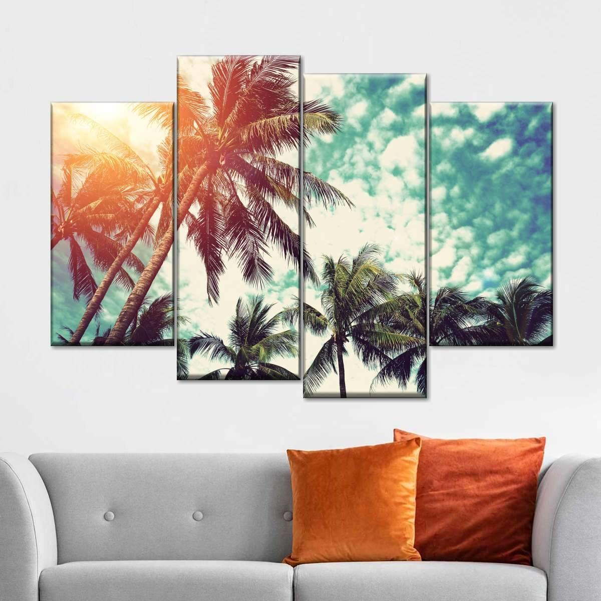 Cloudy Beach Sky Multi Panel Canvas Wall Art