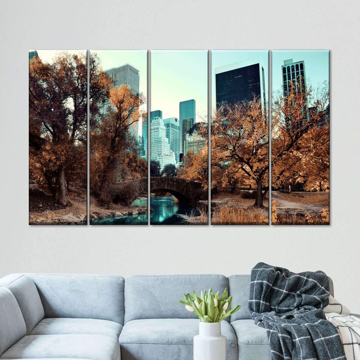 Central Park Autumn Retro Pop Multi Panel Canvas Wall Art
