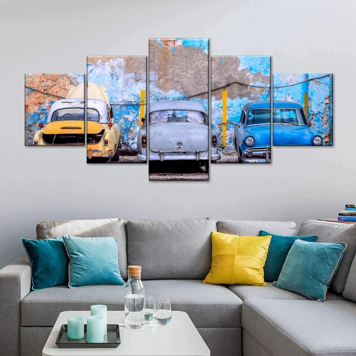 Rustic Cars In Trinidad Multi Panel Canvas Wall Art