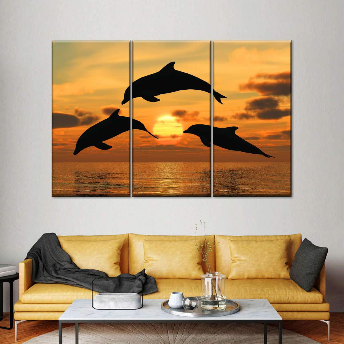 Dolphins at Clearwater Multi Panel Canvas Wall Art