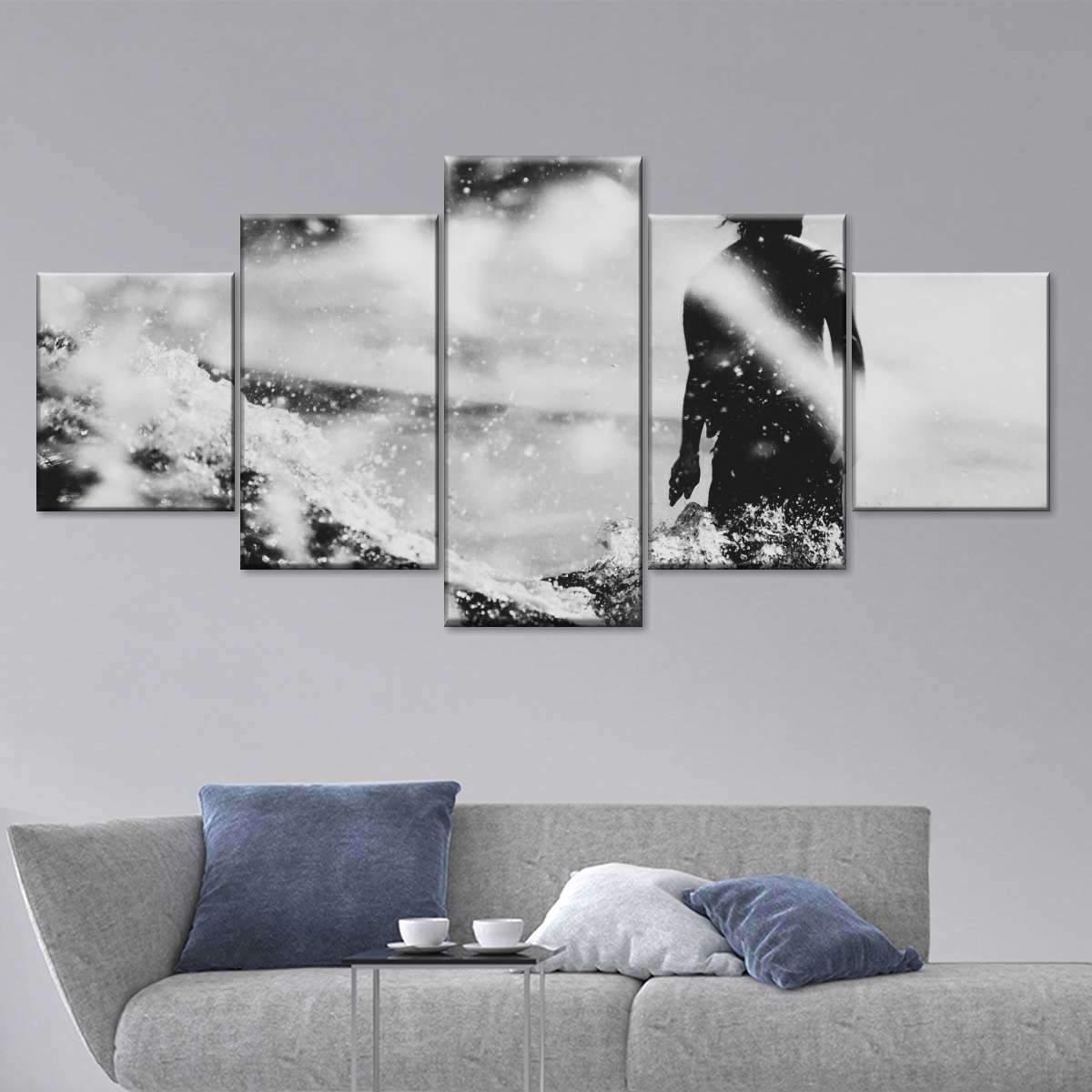 Bali Surfing Multi Panel Canvas Wall Art