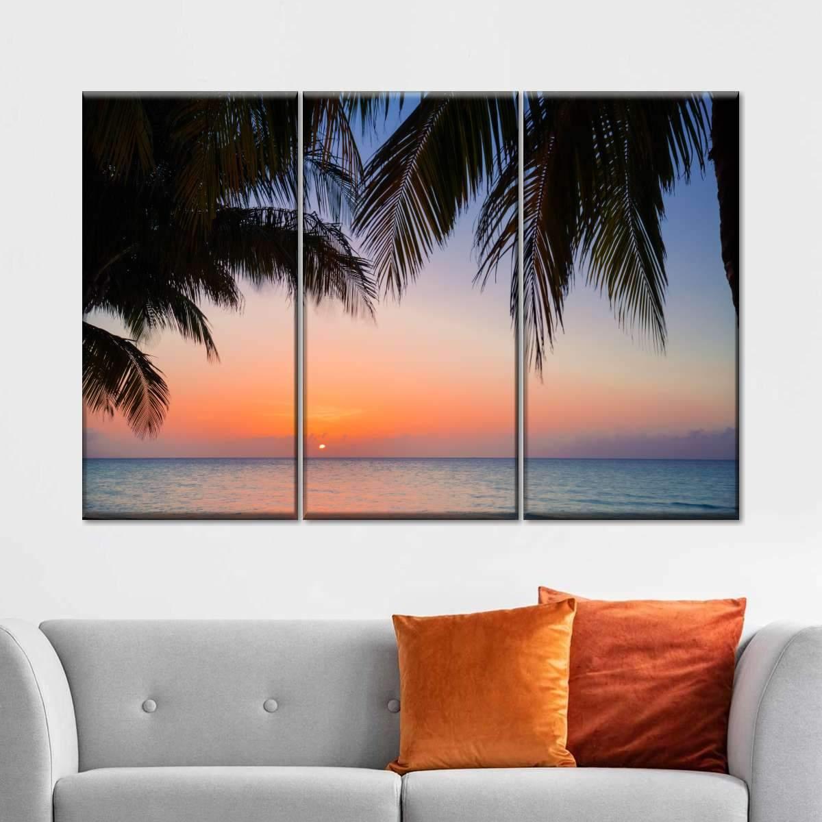 Sunset at Varadero Multi Panel Canvas Wall Art