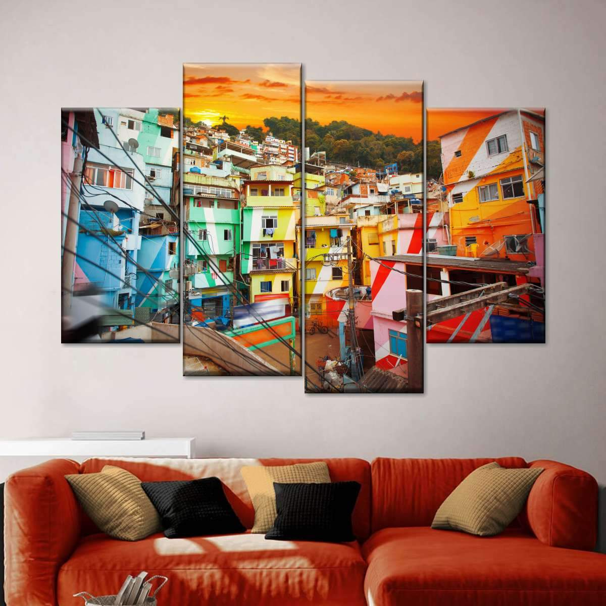 Favela at Rio Multi Panel Canvas Wall Art