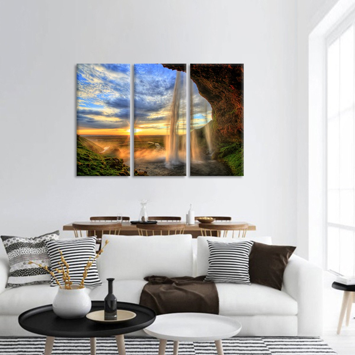 Waterfall in Iceland Multi Panel Canvas Wall Art