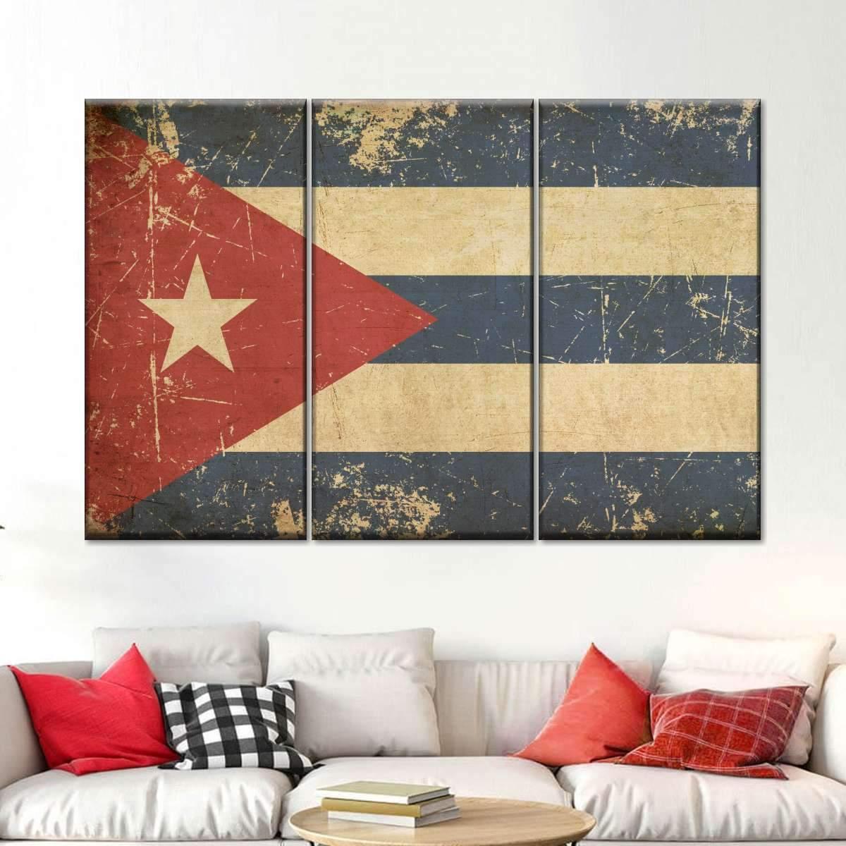 Flag of Cuba Multi Panel Canvas Wall Art