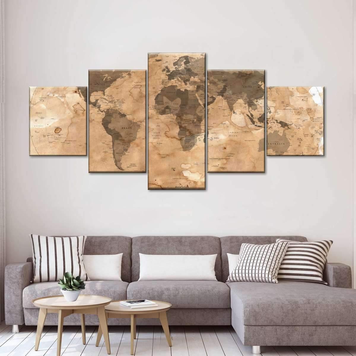 Dirty World Map Multi Panel Canvas Wall Art