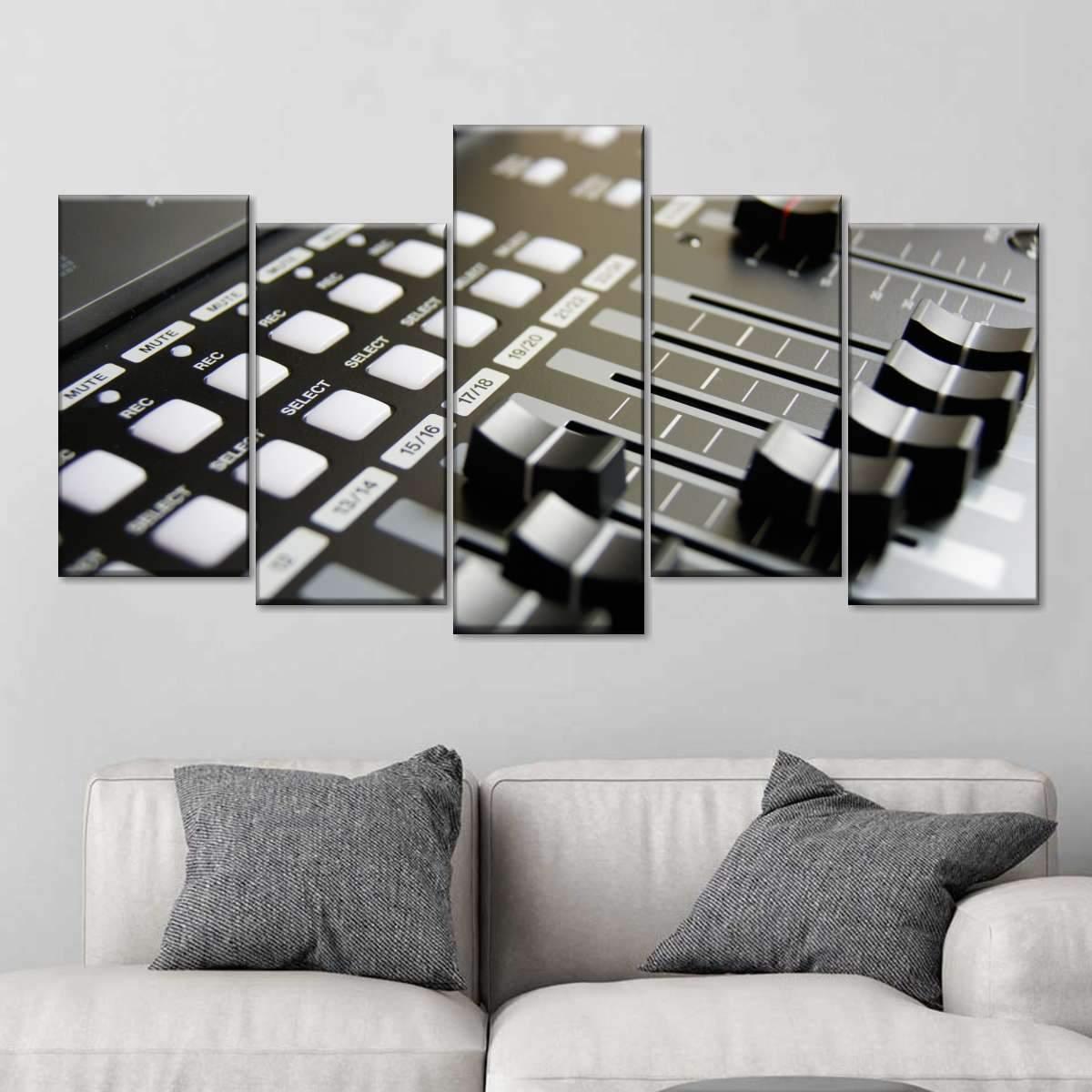 Dj Music Mixer Multi Panel Canvas Wall Art