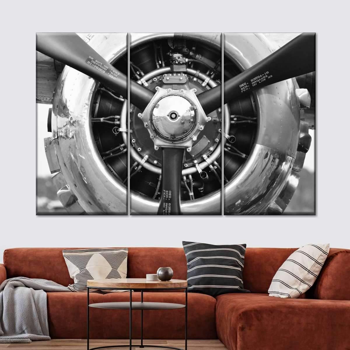 Retro Engine Multi Panel Canvas Wall Art