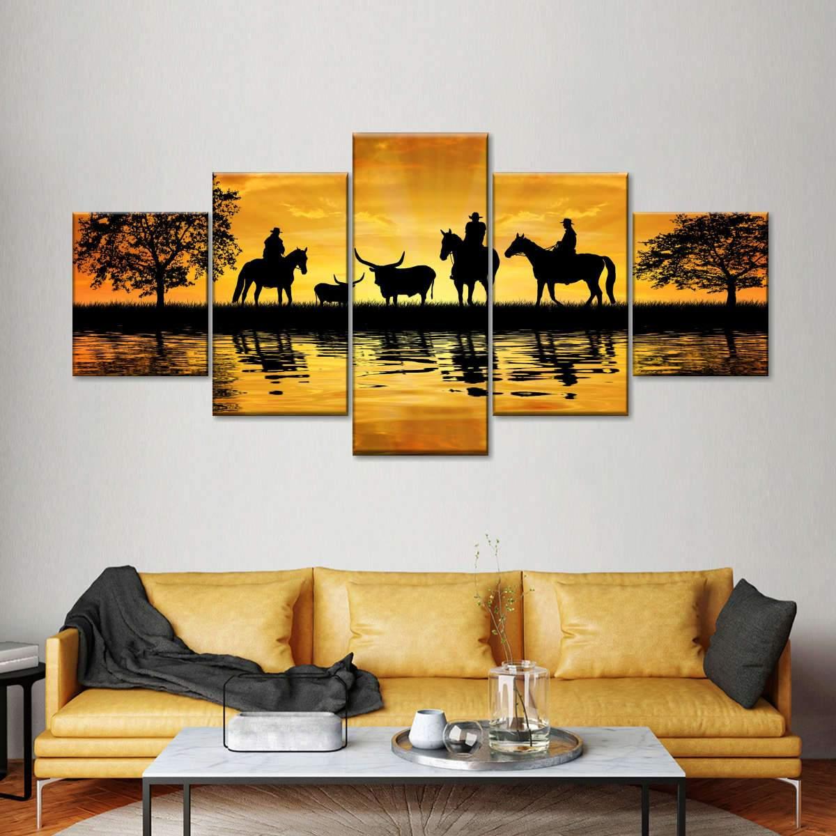 Silhouette Cowboys Multi Panel Canvas Wall Art