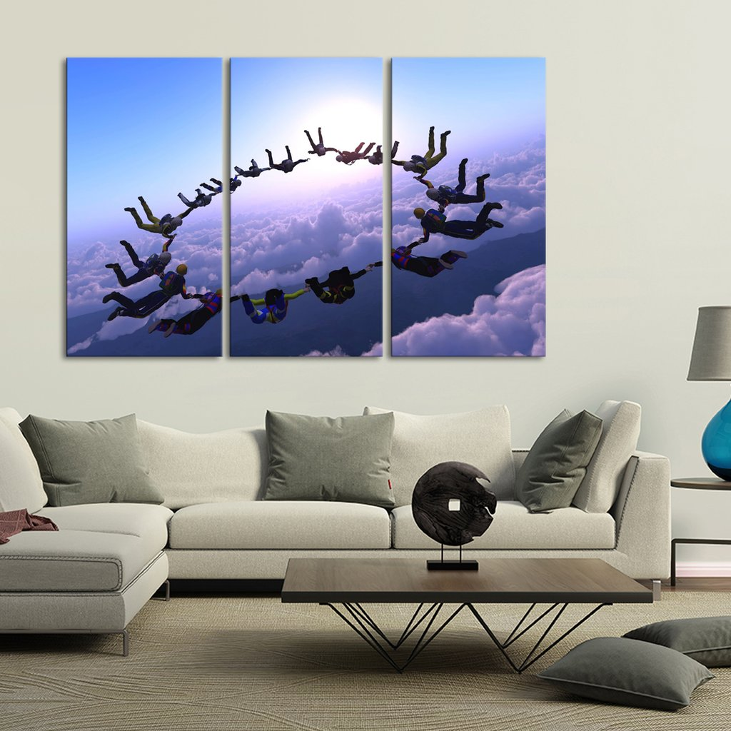 Sky Diving Multi Panel Canvas Wall Art