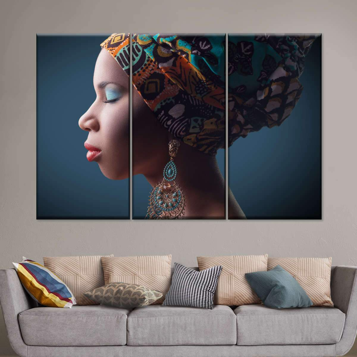 Traditional African Multi Panel Canvas Wall Art