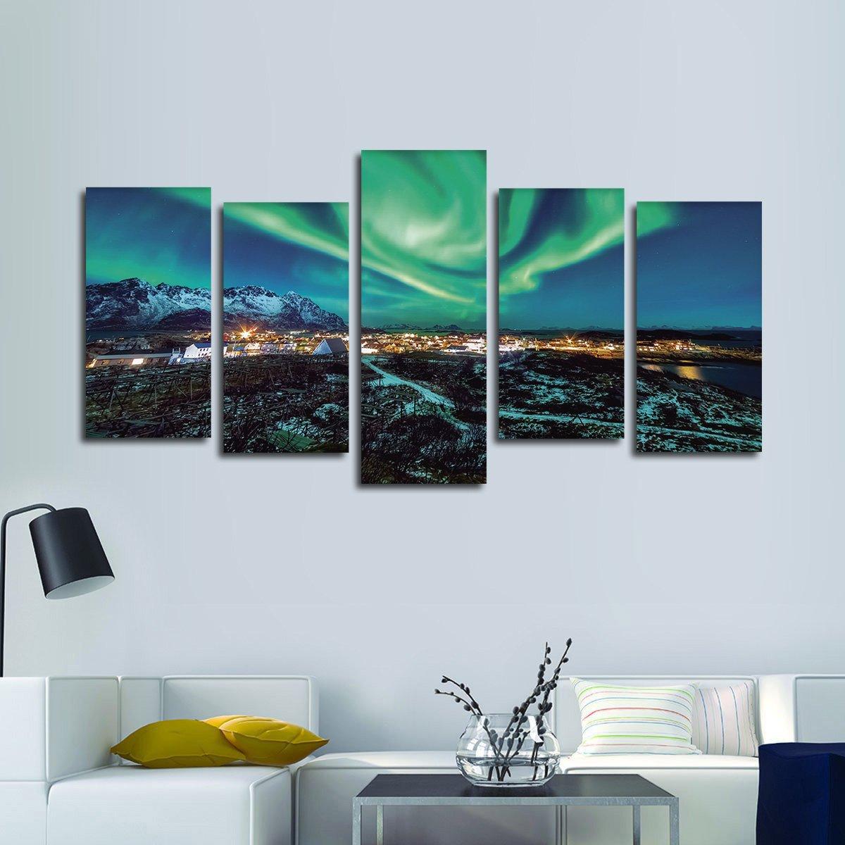 Majestic Northern Lights Village Multi Panel Canvas Wall Art