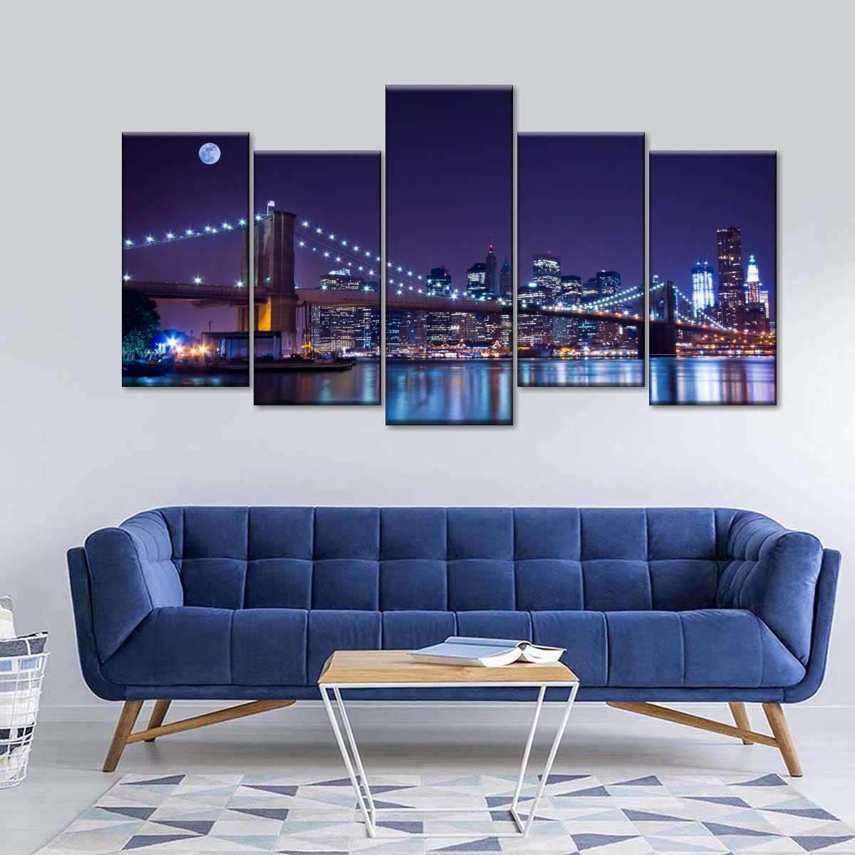 Brooklyn Bridge Glow Multi Panel Canvas Wall Art