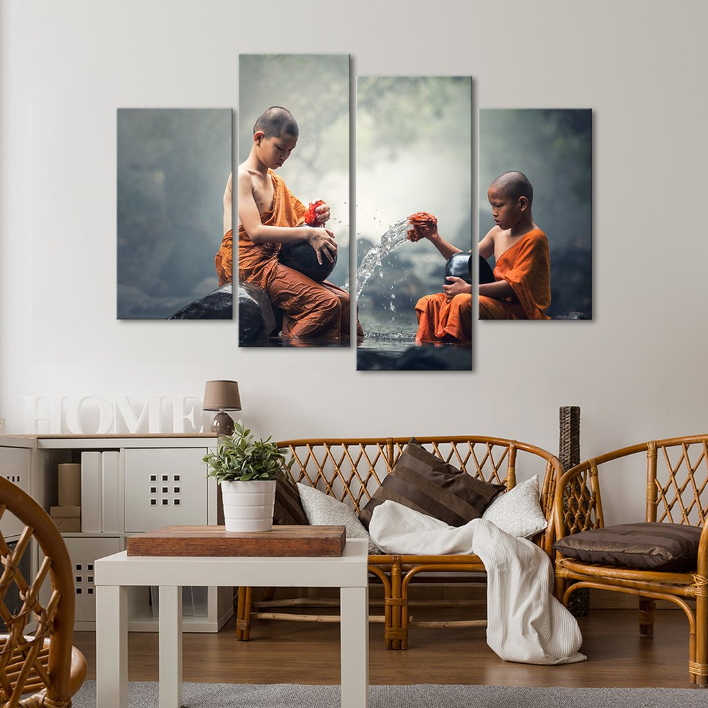 Young Buddhist Monks Multi Panel Canvas Wall Art