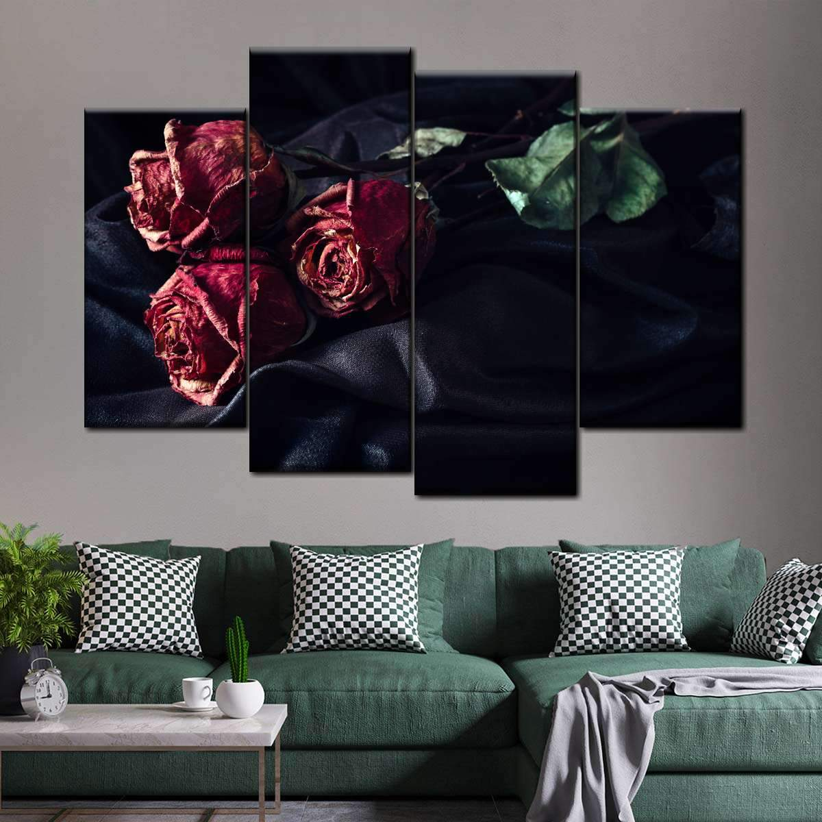 Old Roses Multi Panel Canvas Wall Art