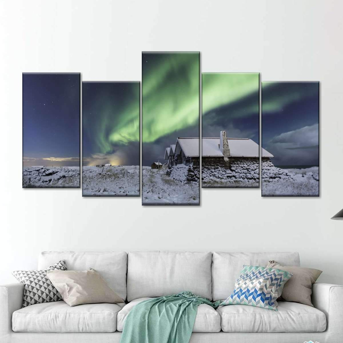Northern lights in Norway Multi Panel Canvas Wall Art