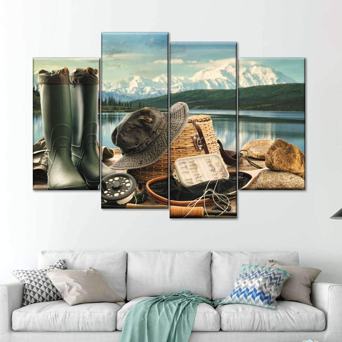 Eat Sleep Fish Multi Panel Canvas Wall Art
