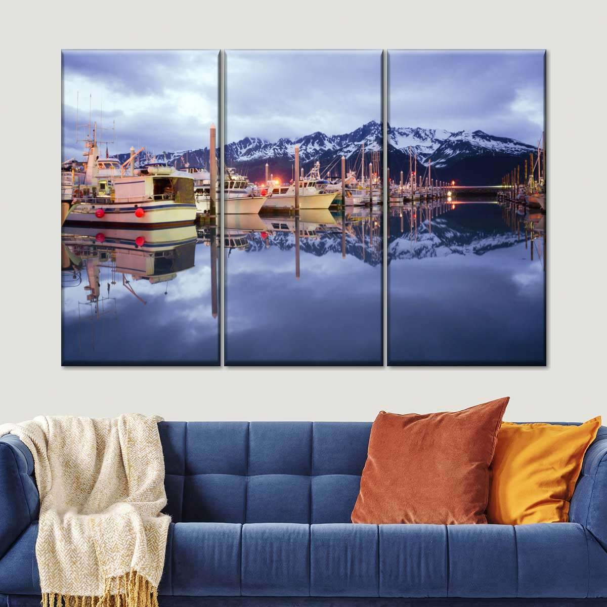 Alaskan Harbor Multi Panel Canvas Wall Art