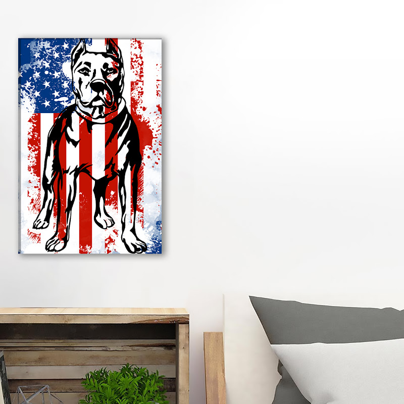 Pitbull Usa Flag Canvas