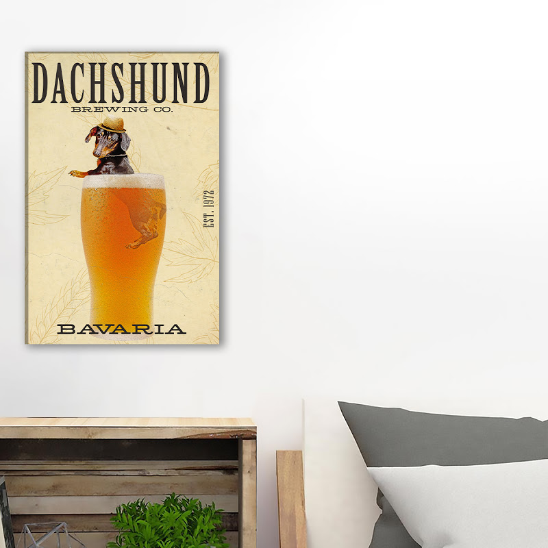 Dachshund Sit On Beer Cup Canvas