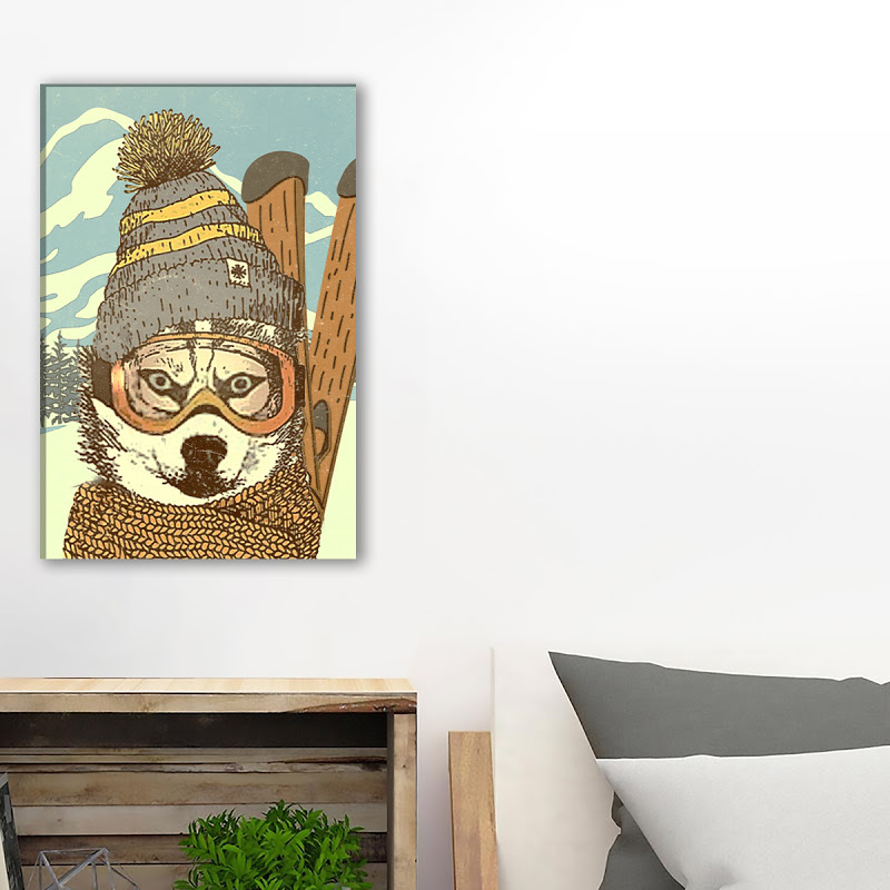 Husky Skiing Dog Canvas