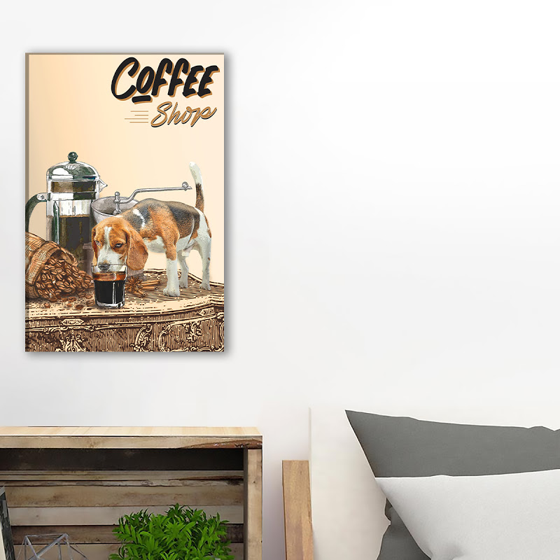 Beagle Drink Coffee In Coffee Shop Canvas