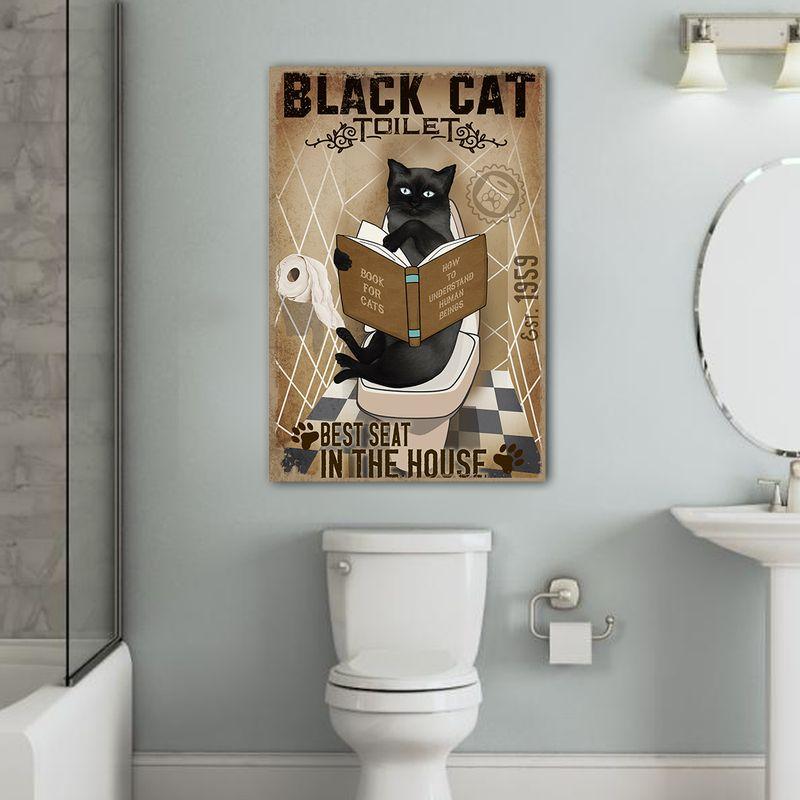 Black Cat Toilet Canvas