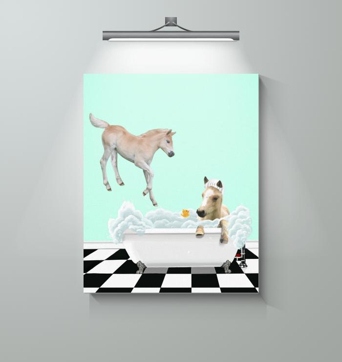 Horse - Bath Time -canvas