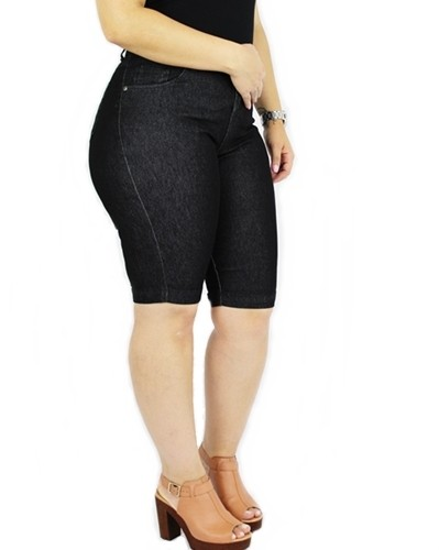 Bermuda Dinho's Jeans Básica Preta Feminina ref. 1141
