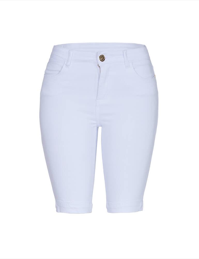 Bermuda Feminina Ciclista Fact Jeans - Branca ref. 03503