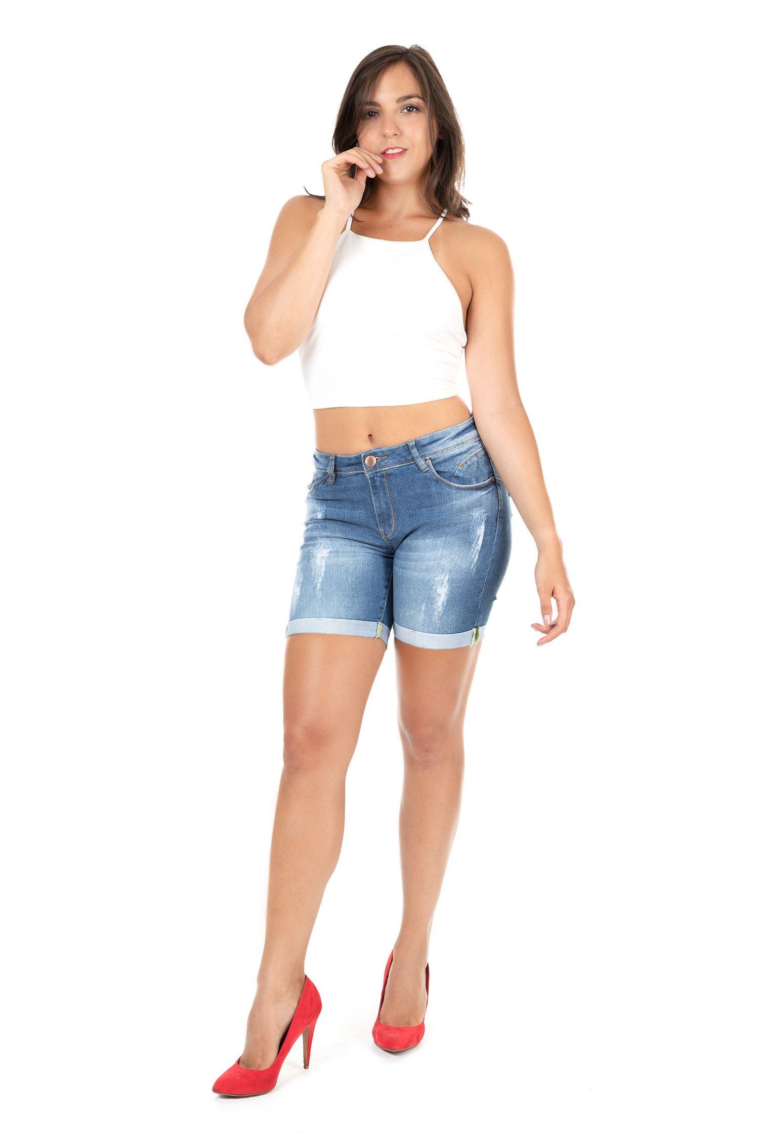 Bermuda Feminina Meia Coxa Fact Jeans ref. 03010