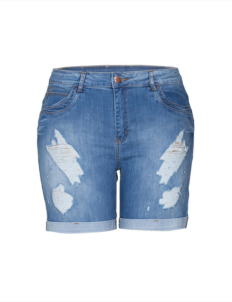 Bermuda Feminina Meia Coxa Fact Jeans Plus Size [3278]