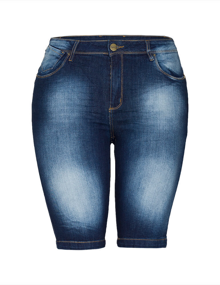 Bermuda Feminina Meia Coxa Fact Jeans Plus Size [3482]