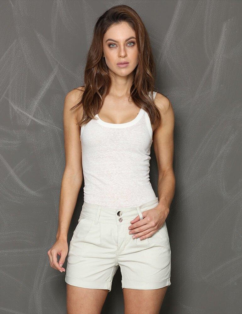 Bermuda Feminina Meia Coxa Fact Jeans Plus Size - Areia [3059]