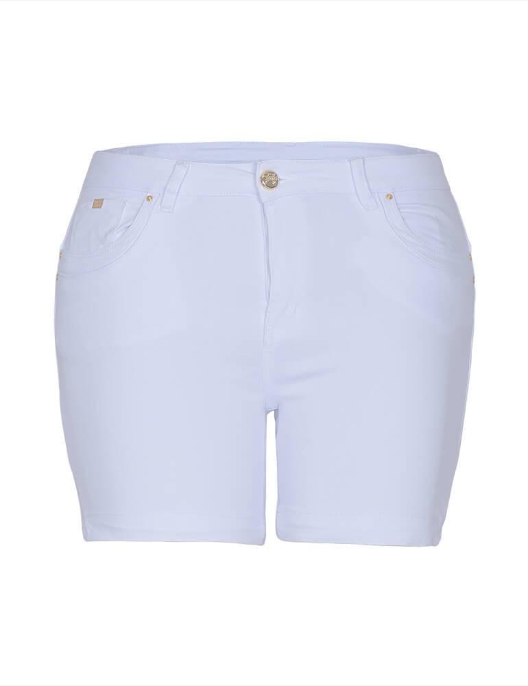 Bermuda Feminina Meia Coxa Fact Jeans Plus Size - Branca ref. 03476