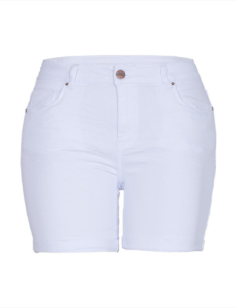 Bermuda Feminina Meia Coxa Fact Jeans Plus Size - Branca [3477]
