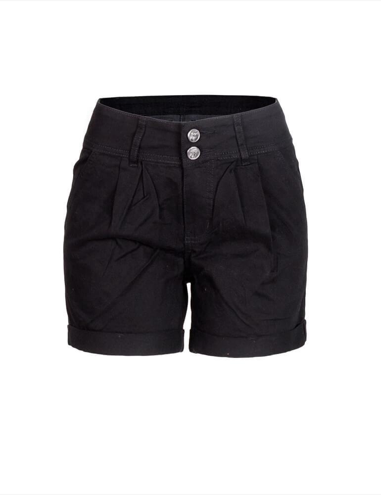 Bermuda Feminina Meia Coxa Fact Jeans Plus Size - Preto [3059]