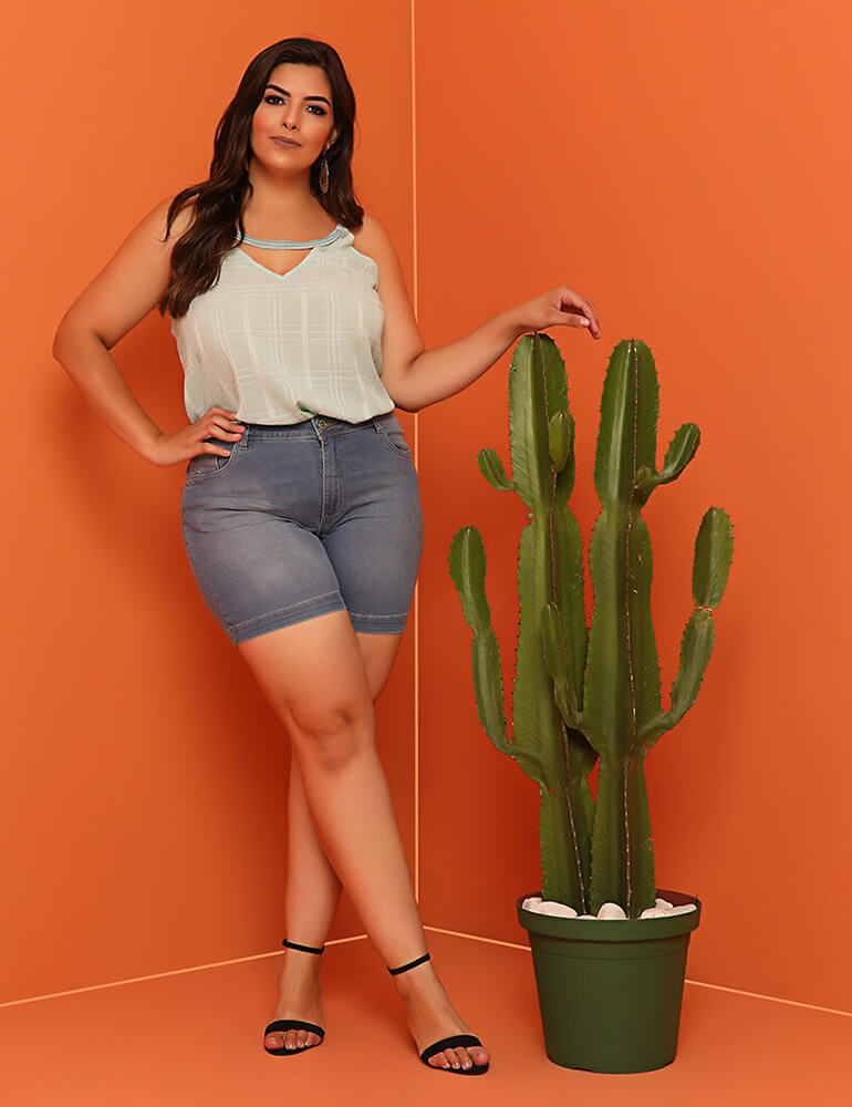 Bermuda Feminina Meia Coxa Fact Jeans Plus Size ref. 03852