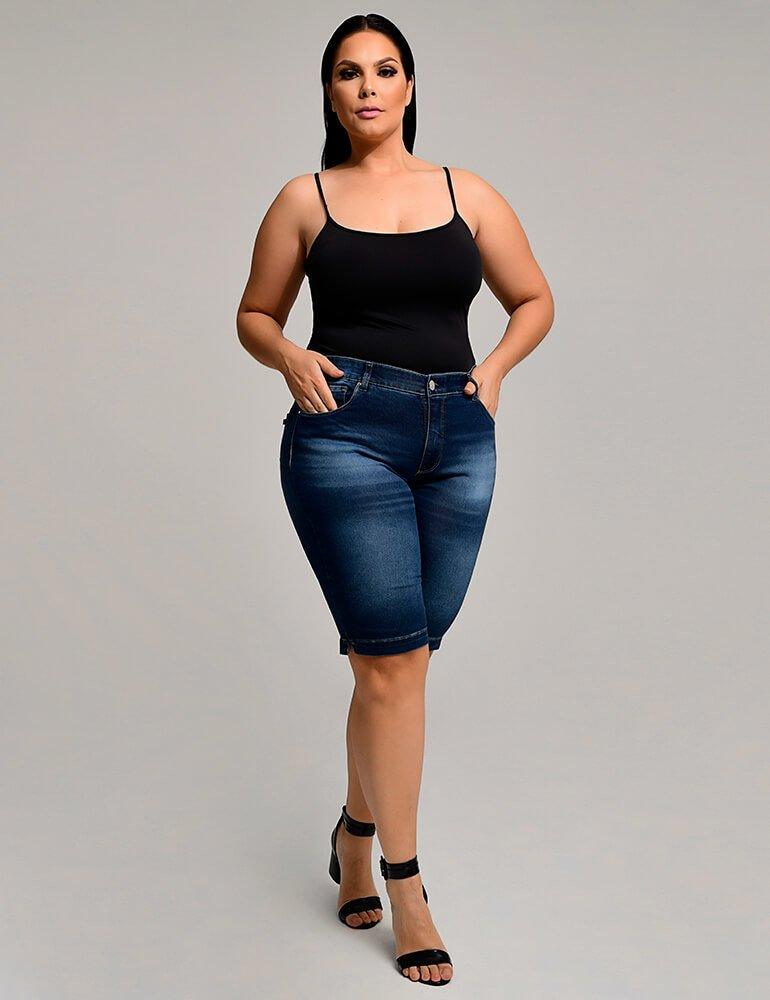 Bermuda Jeans Feminina Ciclista Plus Size Fact Jeans ref. 03966