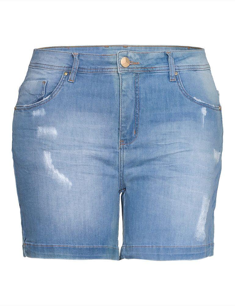 Bermuda Jeans Feminina Meia Coxa Fact Jeans Plus Size ref. 03914