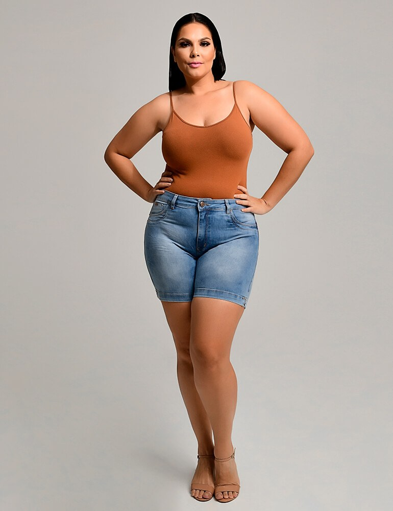 Bermuda Jeans Feminina Meia Coxa Fact Jeans Plus Size ref. 03938