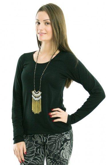 Blusa feminina gola redonda manga longa