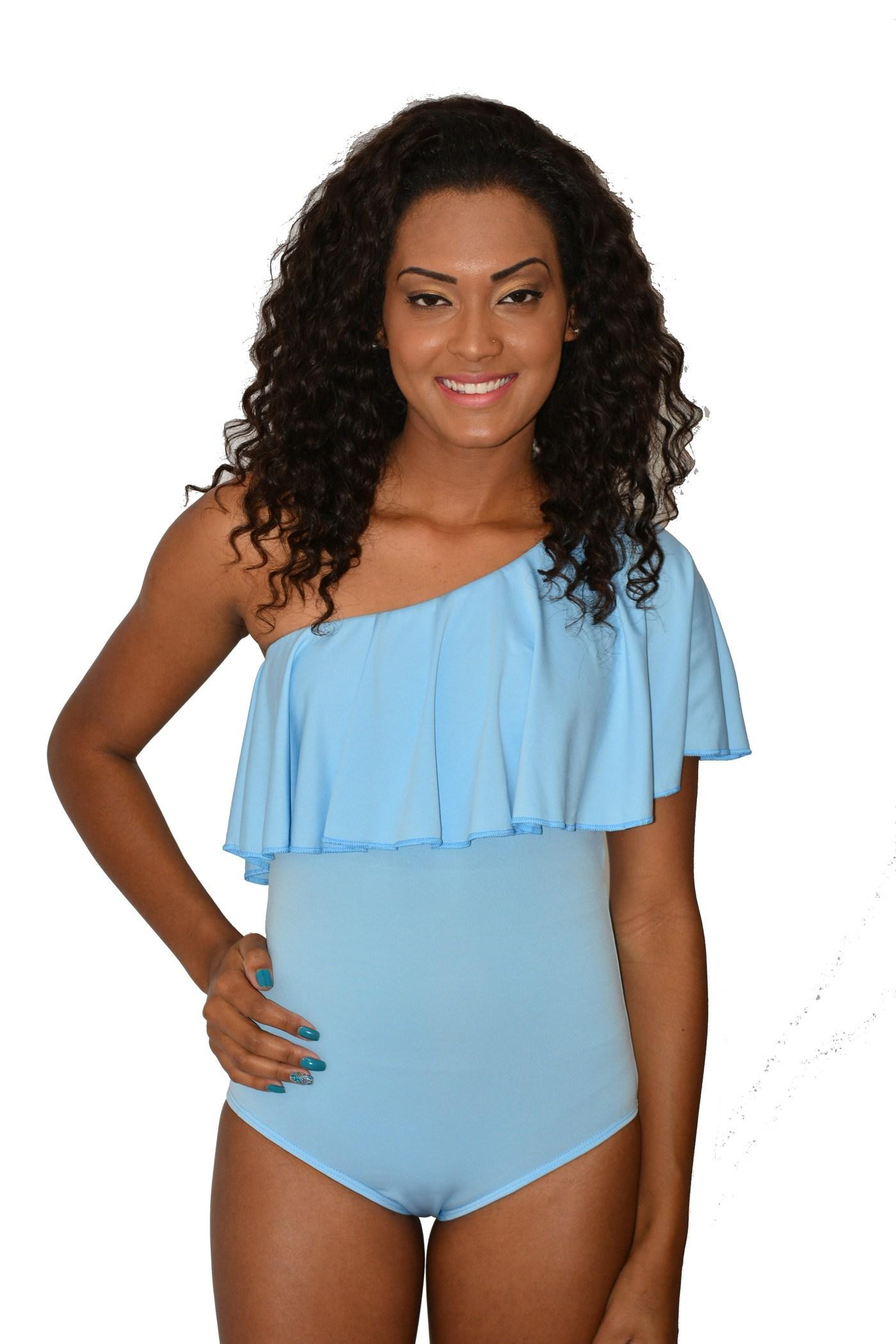 Body Urban Lady Ombro só com Babado Azul