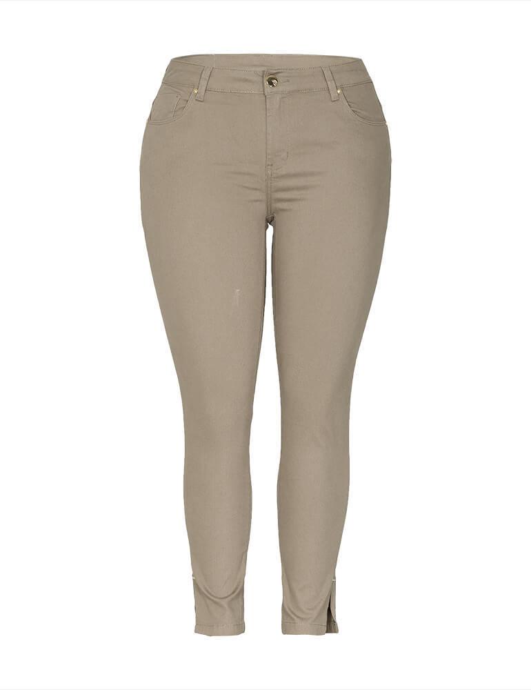 Calça Cropped Feminina Fact Jeans ref. 03674 - Caqui