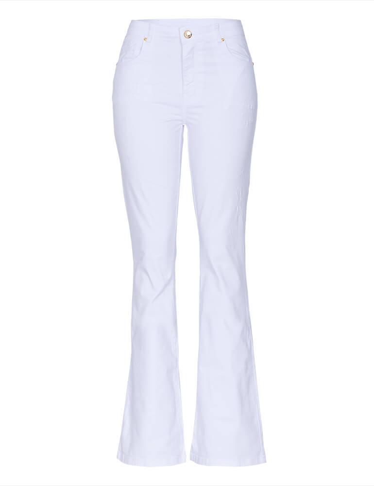 198cbf401 Calça Flare Feminina Fact Jeans - Branca ref.