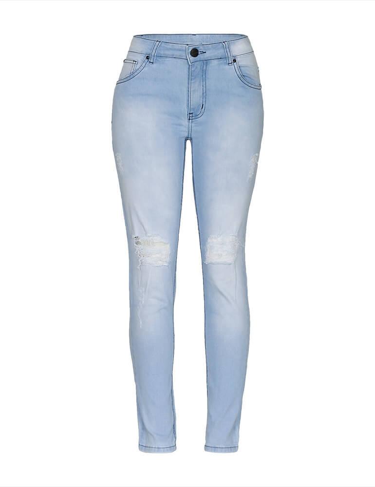 Calça Jeans Cigarrete Destroyed Feminina Fact Jeans ref. 03525
