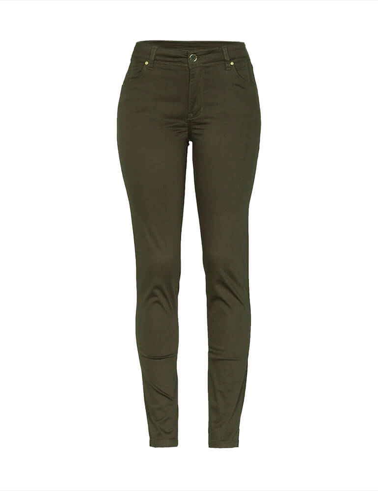 Calça Sarja Cigarrete Feminina Fact Jeans [03689] - Verde
